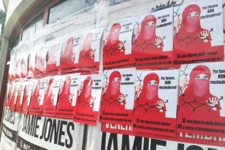 Plakate des IZRS gegen ein Schleierverbot in Lugano