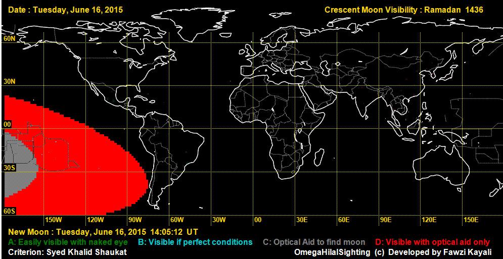[Bild 1 zeigt , dass die Wahrscheinlichkeit einer Sichtung des Neumondes am 16. Juni gegen null geht. Quelle: OmegaHilalSighting]