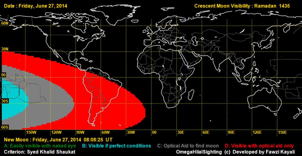 [Bild 1 zeigt , dass die Wahrscheinlichkeit einer Sichtung des Neumondes am 27. Juni gegen null geht. Quelle: OmegaHilalSighting]